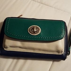 Leather wristlet by Coach